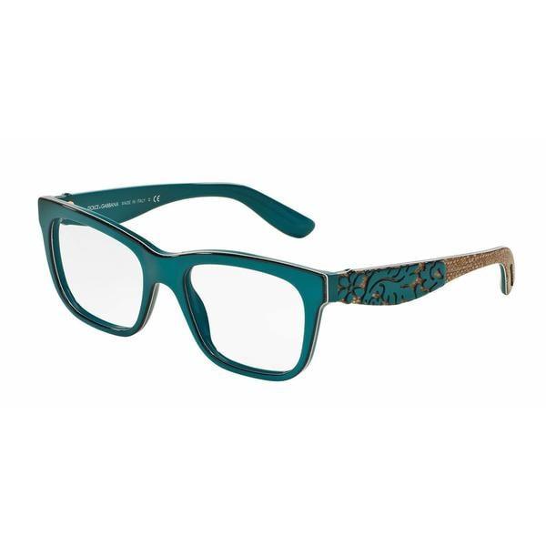 Dolce & Gabbana Womens DG3239F 3000 Green Plastic Square Eyeglasses