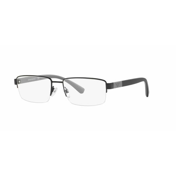 Emporio Armani Mens EA1051 3014 Black Metal Rectangle Eyeglasses