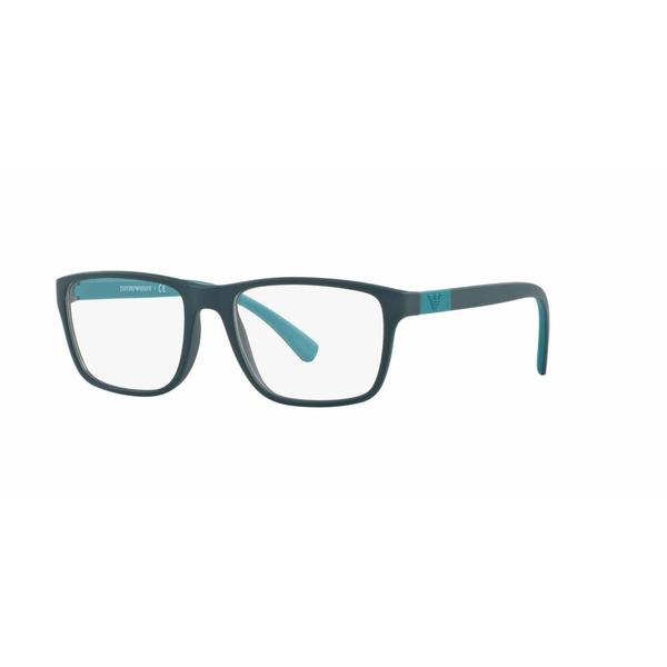 Emporio Armani Mens EA3091 5500 Green Plastic Rectangle Eyeglasses
