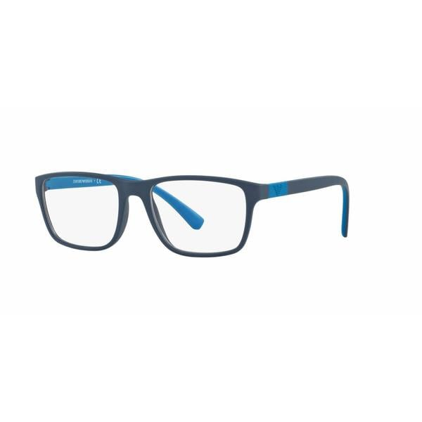 Emporio Armani Mens EA3091 5504 Blue Plastic Rectangle Eyeglasses