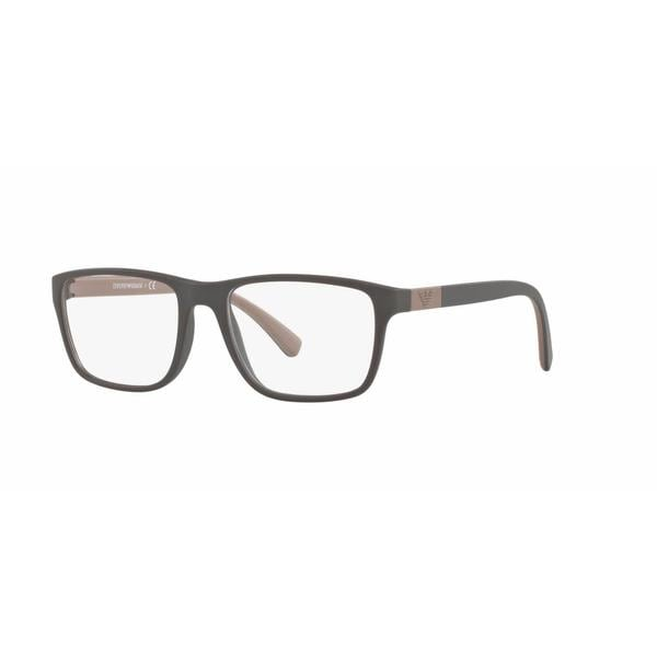 Emporio Armani Mens EA3091 5509 Brown Plastic Rectangle Eyeglasses