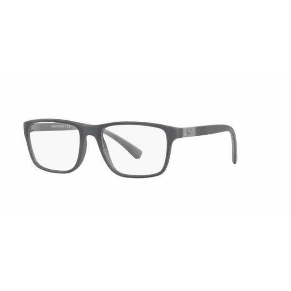 Emporio Armani Mens EA3091F 5502 Grey Plastic Rectangle Eyeglasses