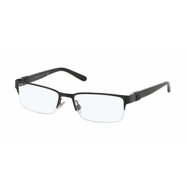 Ralph Lauren Mens RL5090 9003 Black Metal Rectangle Eyeglasses