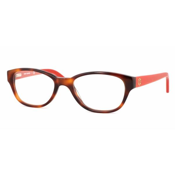 Tory Burch Womens TY2031 1162 Havana Plastic Rectangle Eyeglasses