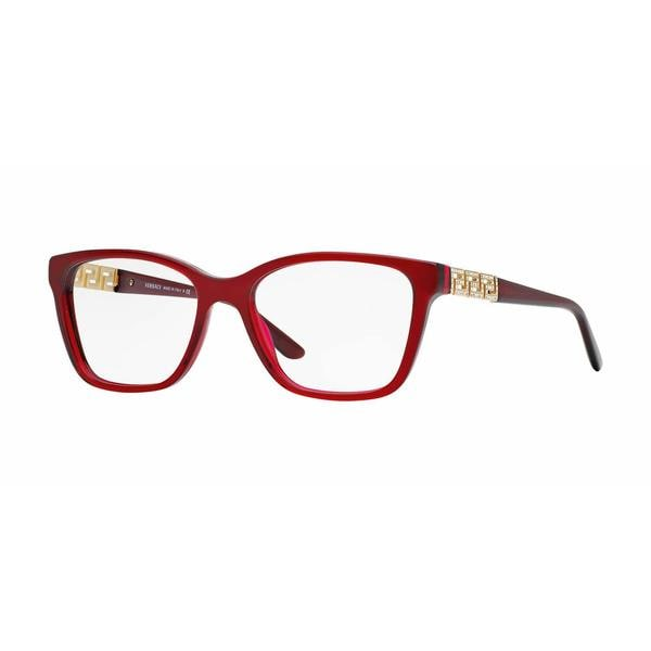 Versace Womens VE3192B 388 Red Plastic Rectangle Eyeglasses