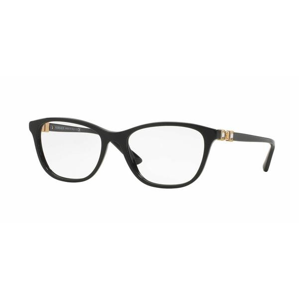 Versace Womens VE3213BA GB1 Black Plastic Cat Eye Eyeglasses
