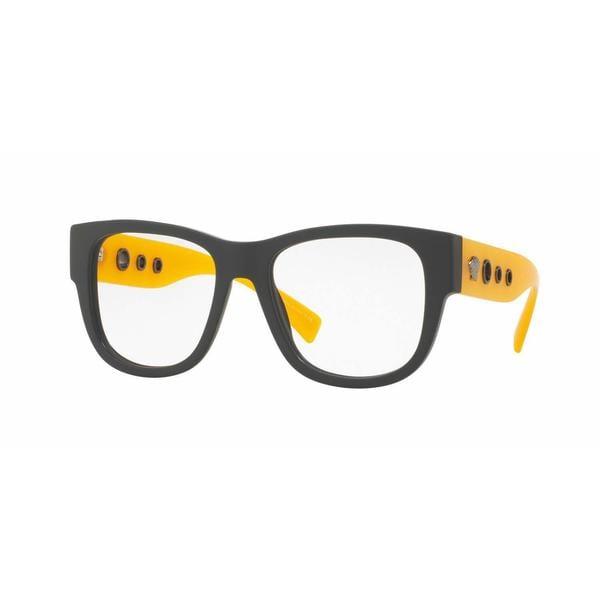 Versace Mens VE3230 5194 Orange Plastic Square Eyeglasses