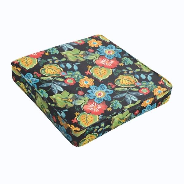 Black Tropical Square Cushion - Corded