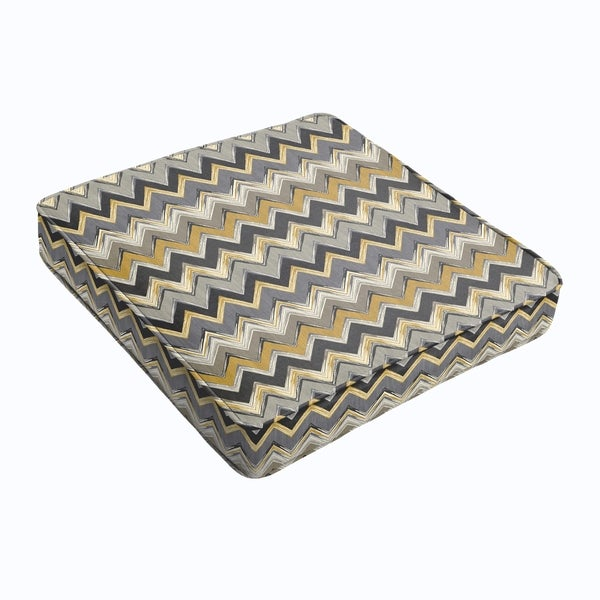 Grey Gold Chevron Square Cushion - Corded