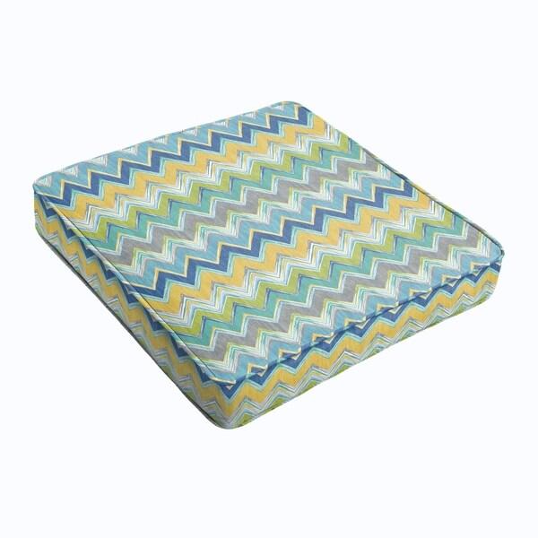 Blue Chevron Square Cushion - Corded