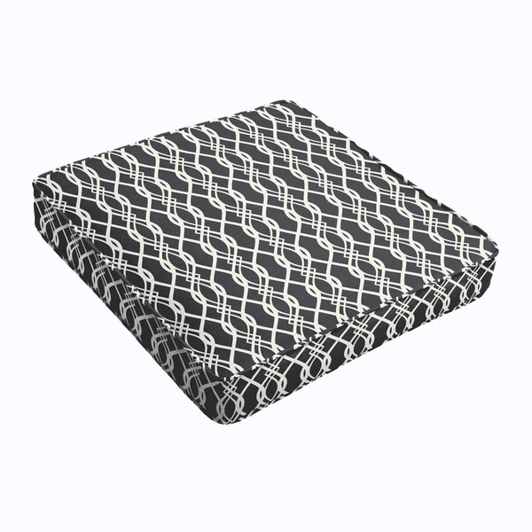 Wavy Black Square Cushion - Corded
