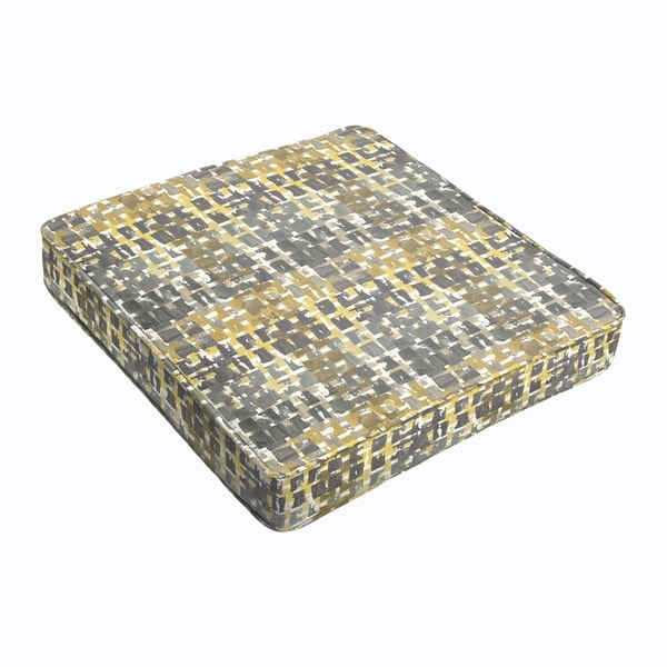 Grey Gold Squares Square Cushion - Corded