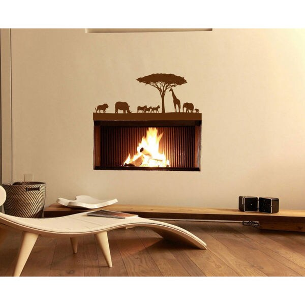 African Safari Wall Decal Vinyl Stickers Decals Animal Vinyl Sticker Decal Size 22x30 Color Brown