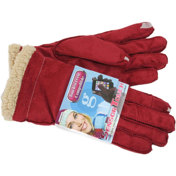 Grandoe Women's Red Suede Sensor-Touch Texting Gloves 22560681