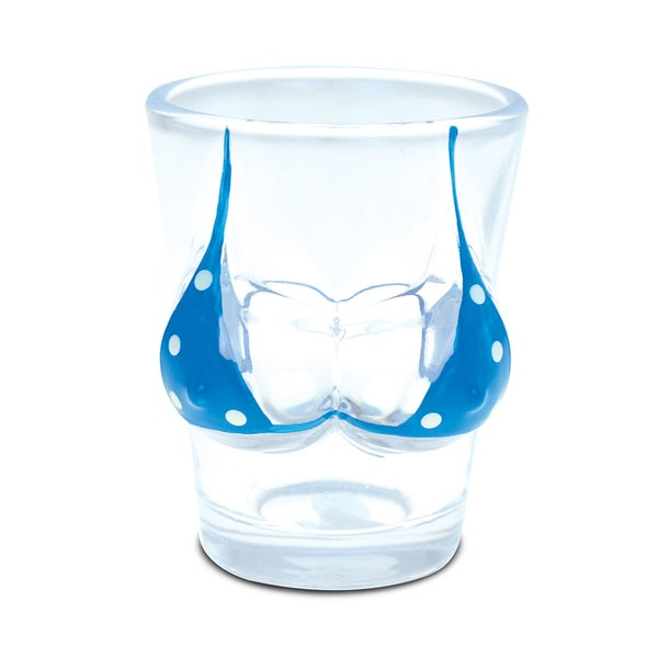Puzzled Glass Blue Polka Dot Bikini Beach-themed Shot Glass