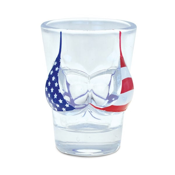 Puzzled Beach Theme US Flag Bikini Top Shot Glass