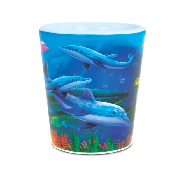 Puzzled Ocean LIfe Theme Dolphin Reef Ceramic Shot Glass 22560846