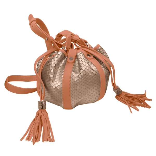 See by Chloe Lazaer Peach Python Print Leather Bucket Bag