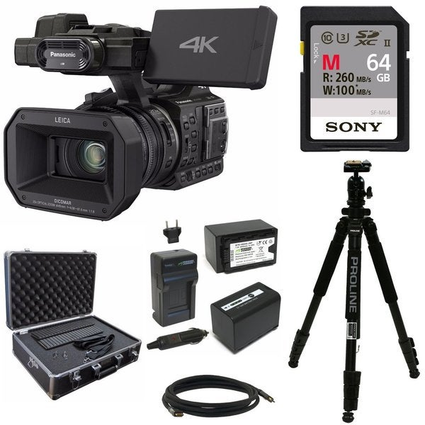 Panasonic HC-X1000 4K-60p/50p Camcorder w/ 64GB SD Card & Hard Case Bundle