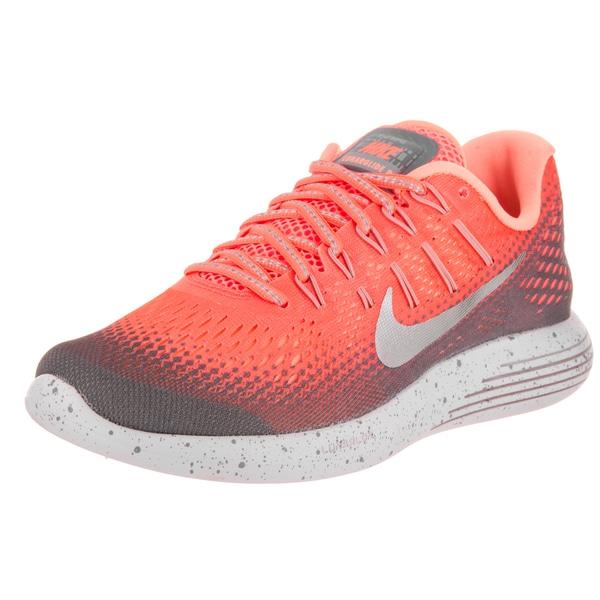 Nike Women's Lunarglide 8 Shield Bright Mango/Metallic Silver Faux Leather Running Shoe
