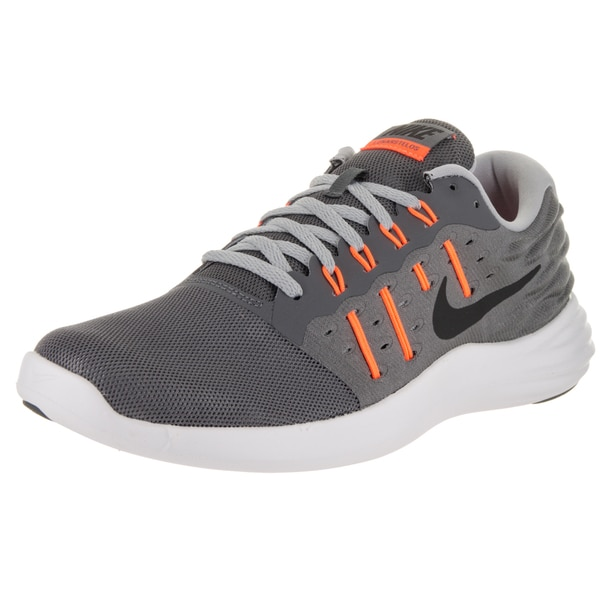 Nike Men's 'Lunarstelos' Dark Grey, Black, Wolf Grey, and Total Orange Rubber and Mesh Running Shoes
