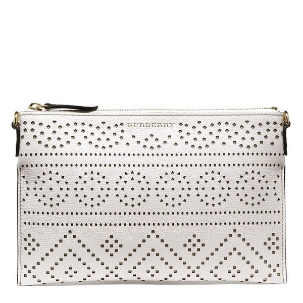 Burberry Peyton White Leather Perforated Leather Crossbody Bag