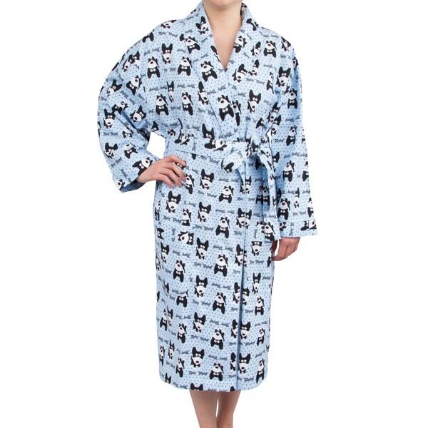Leisureland Women's Cotton Flannel Novelty Long Robe Bow Wow! Dog Design