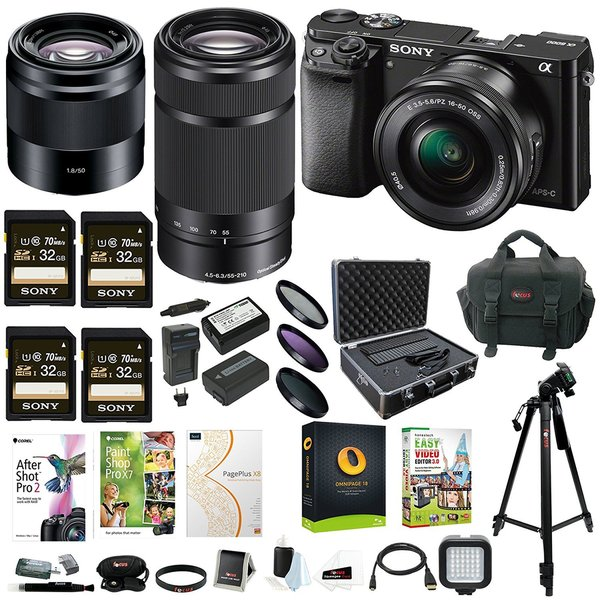 Sony Alpha a6000 Mirrorless Camera w/ 16-50mm & 50mm Lens & 32GB SD 4-Pack Card Bundle