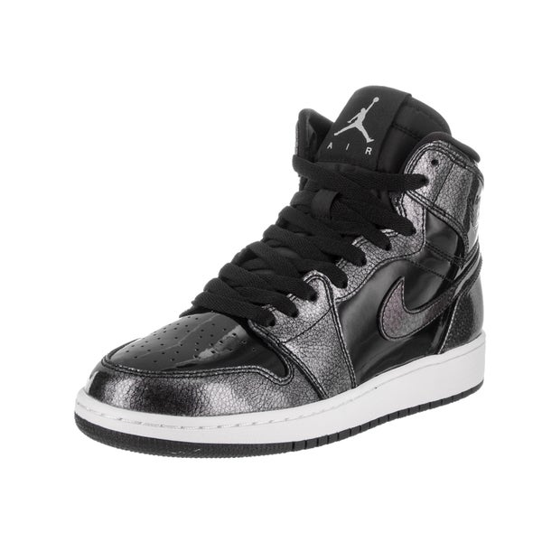 Nike Jordan Kids' Boys' Grade School 'Air Jordan 1 Retro High' Black and White Patent Leather Basketball Shoes