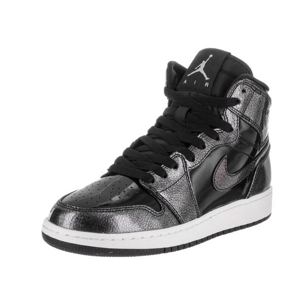 Nike Jordan Kids' Boys' Grade School 'Air Jordan 1 Retro High' Black and White Patent Leather Basketball Shoes