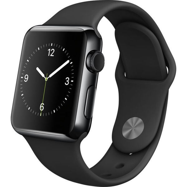Apple Watch 38mm Smartwatch (2015, Space Black Stainless Steel Case, Black Sport Band