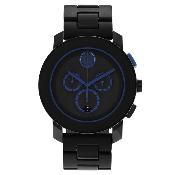 Movado Men's 'Bold Series' 3600270 Stainless Steel Navy Blue Dial Quartz Watch