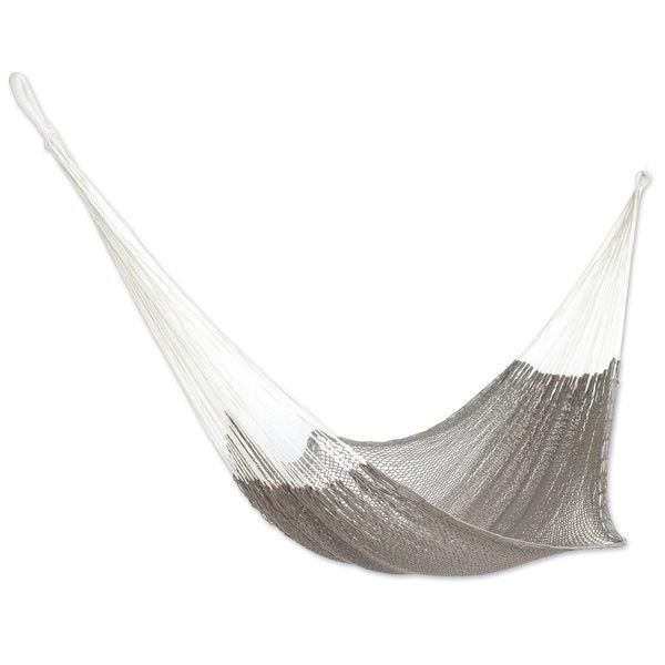 Cotton Rope Hammock, 'Ashen Beach' (single) (Mexico)