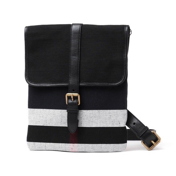 Burberry Everson Black Canvas Check Crossbody Bag