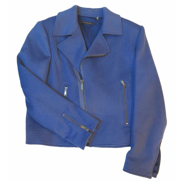 Elie Tahari Mae Blue Wool X-large Coat