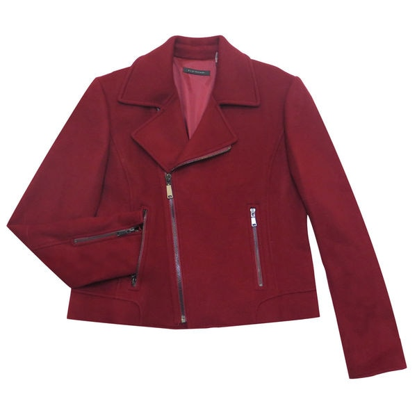 Elie Tahari Mae Burgundy Wool Coat