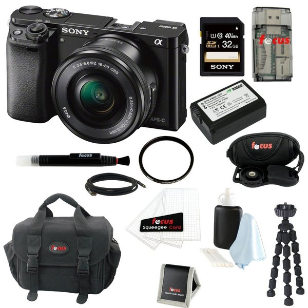 Sony Alpha a6000 ILCE-6000L/B 24.3 Interchangeable Lens Camera with 16-50mm Power Zoom Lens + Sony 32GB SDHC Card + Kit 22565310