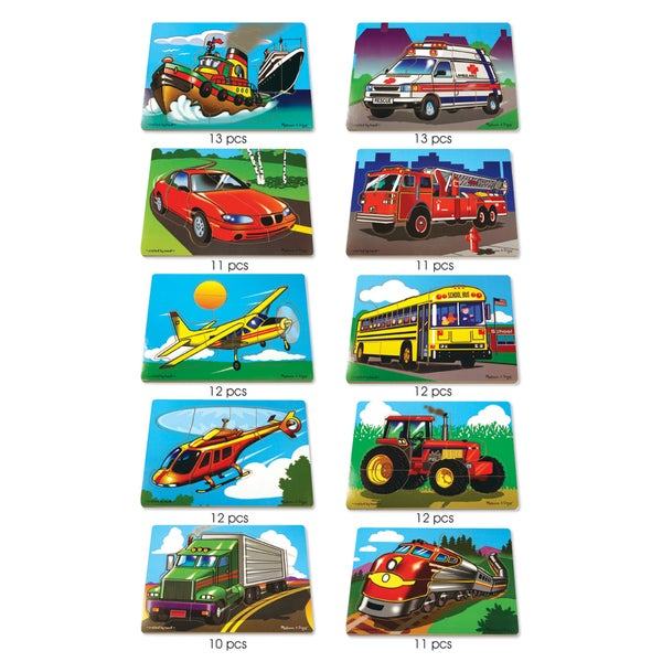 Melissa & Doug Favorite Vehicles Wooden Puzzle Set