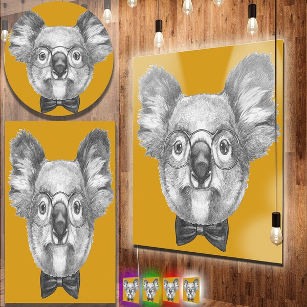 Designart 'Koala with Glasses and Bow Tie' Contemporary Animal Art Metal Wall Art 22567231