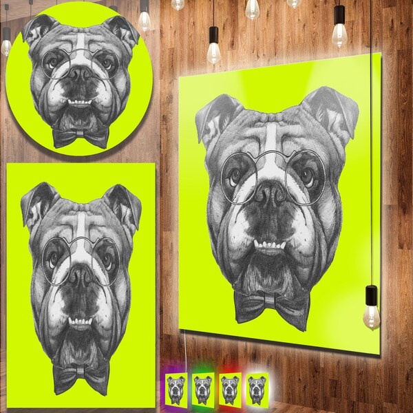 Designart 'English Bulldog with Bow Tie' Contemporary Animal Art Metal Wall Art 22567271