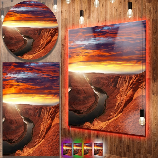 Designart 'Horse Shoe Bend under Sunset Sky' Extra Large Landscape Aluminium Art Print