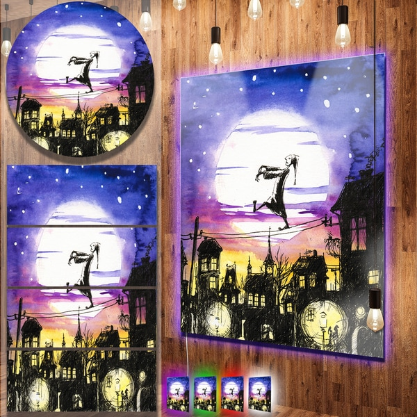 Designart 'Sleepwalker in Moonlight' Metal Wall Art