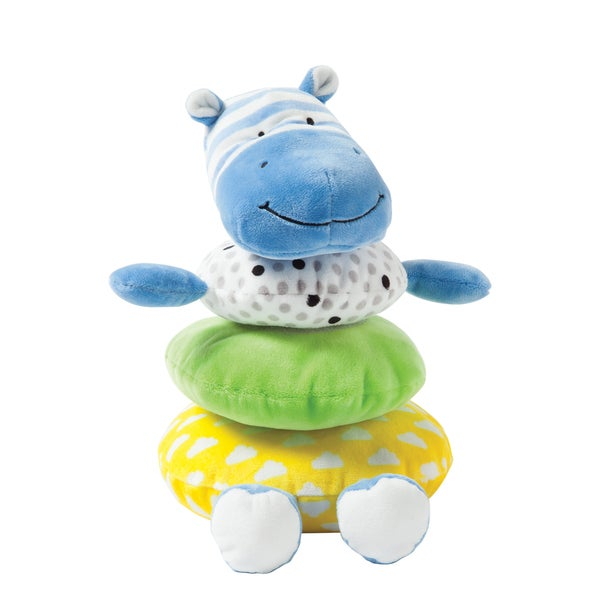 Manhattan Toy Soft Stacker Blue Hippo Multicolor Fabric Baby Toy 22569724