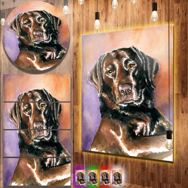 Designart 'Brown Dog Watercolor' Animal Aluminium Wall Art