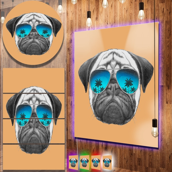 Designart 'Funny Dog with Blue Glasses' Large Animal Metal Wall Art
