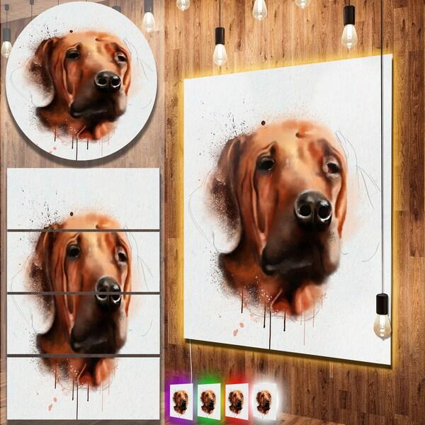 Designart 'Brown Dog Face Watercolor' Large Animal Metal Wall Art