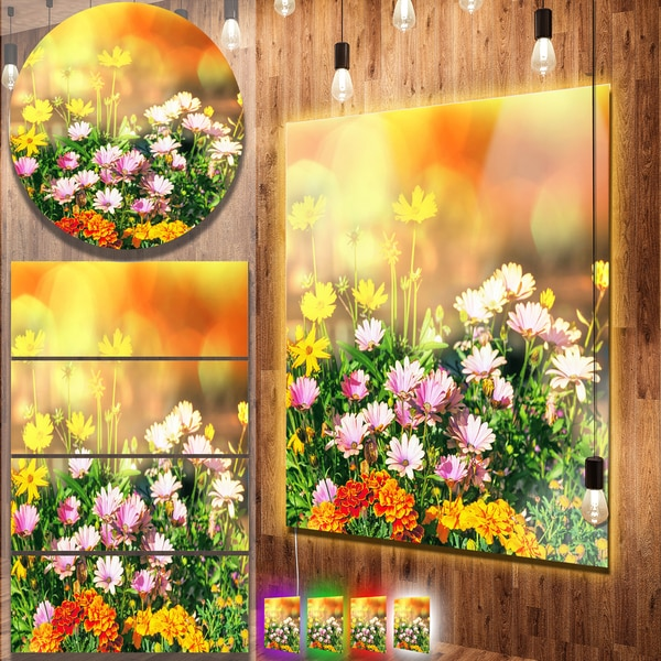 Designart 'Lovely Multi-Color Little Flowers' Floral Wall Metal Wall Art