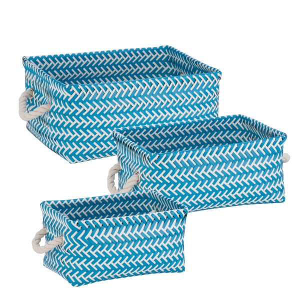 Zig Zag Set of 3 Bskt: Blue