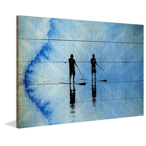 Parvez Taj - 'Beach Surf Blue' Painting Print on Reclaimed Wood