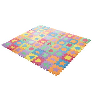 Interlocking Foam Tile Play Mat with Shapes - Nontoxic Children's Multicolor Puzzle Tiles by Hey! Play!